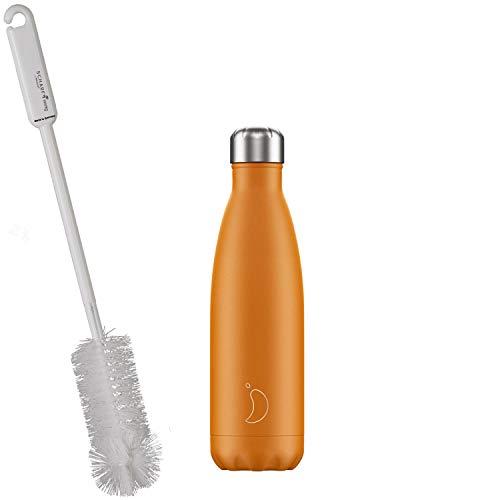 CHILLYs Trinkflasche & Isolierflasche Neon Orange Bottle - Edelstahl Thermos Wasserflasche - Flasche hält 24 Std. kalt & 12 Std. heiß + SCHARFsinnig Flaschenbürste