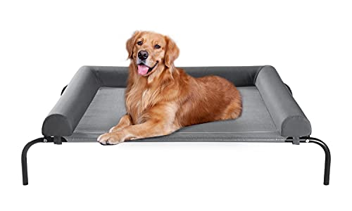 WESTERN HOME Elevated Dog Bed Cot, Chew Proof Raised Outdoor Dog Bed with Bolster for Extra Large Dogs, Portable Cooling Pet Cot with Breathable Mesh, Skid-Resistant Feet, Grey, 48.25 inches