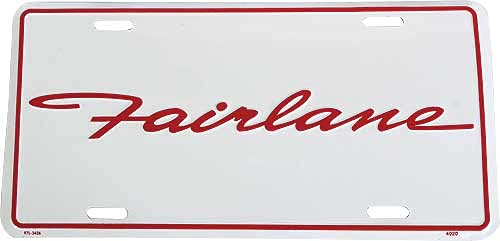 MACs Auto Parts 49-51976 Logo License Plate - White Background With Fairlane Script In Red