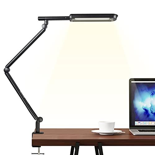LED-Schreibtischlampe, Wellwerks 15W Tischlampe Klemmarm Schwenkarm dimmbares Licht, Augenpflegende und stufenlose Dimm-Schreibtischleuchte, Schreibtischlampen für Home Office/Aufgabe/Studium/Lesen