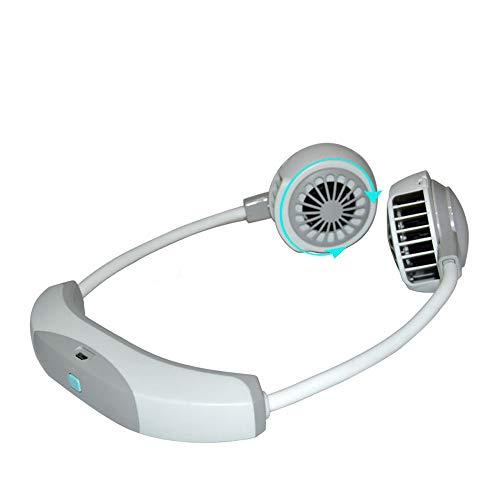 Dewanxin Ventilador Personal Portátil Mini USB,Luz LED Ventilador con Doble Cabeza Giratorio de 360°,3 Velocidades 2000 mAH,Recargable Ventilador de Banda para el Cuello Ventilador de Refrigeración