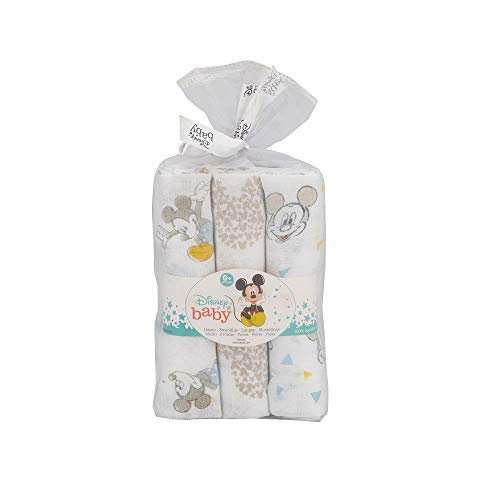 Interbaby Mk018 - Pack 3 Gasas Disney Mickey Mouse Color Blanco Y Azul 0.1 Kg
