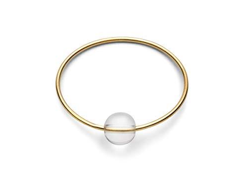 JUKSEREI Anillo de mujer de oro – Anillo de nacimiento/anillo de cumpleaños / anillo de piedra natalicia todos los meses de enero a diciembre de plata chapada en oro, Piedra., Quartz,