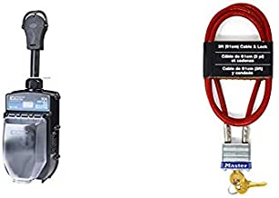PROGRESSIVE INDUSTRIES EMS-PT50X Portable RV Surge Protector (50 A) + Master Lock 719D 3' Long x 3/16' Diameter Cable with Integrated Laminated Steel Padlock