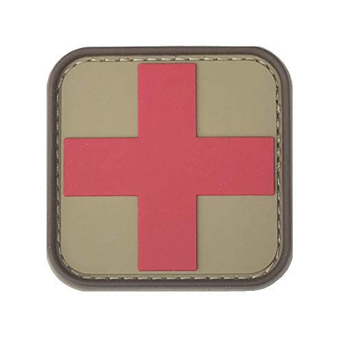 Medic First Aid Morale Patch - Perfect for IFAK Rip Away Pouch, EMT, EMS, Trauma, Medical, Paramedic, First Response Rescue Kit, Tactical, Combat, Emergency, Blow Out, EDC Bag (Coyote-Red)