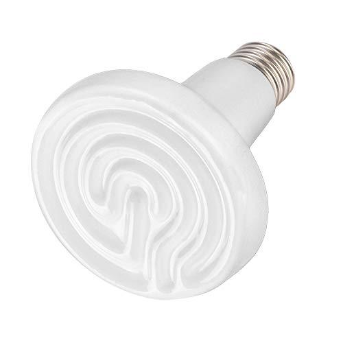 PETLOFT - Emisor de calor de cerámica, 75 W actualizado 90 mm de diámetro de calefacción infrarrojo no ligero y duradero, lámpara de calor para reptiles de mascotas, anfibios y gallineros, color blanco, Blanco – 1 paquete., 100 W