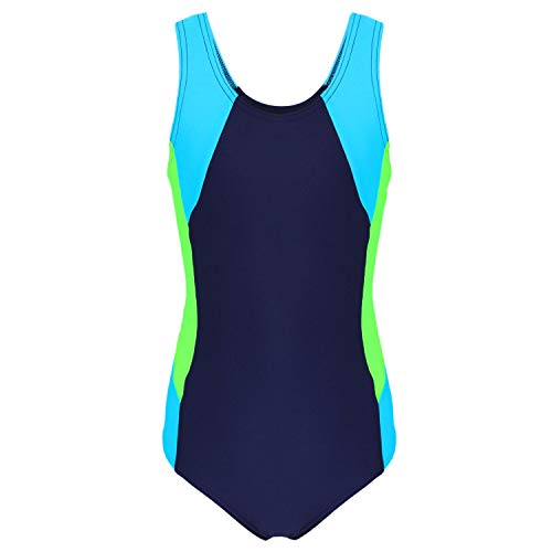Aquarti Mädchen Badeanzug mit Ringerrücken, Farbe: Dunkelblau/Neongrün/Hellblau, Größe: 140