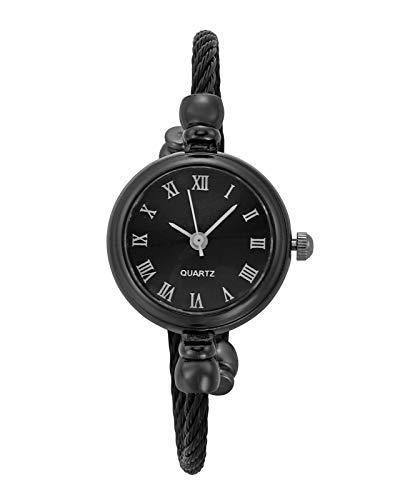 JSDDE Uhren Damen Armbanduhr Chic Manschette Damenuhr Spangenuhr Römische Ziffern Armreifen Quarzuhr Kleideruhr für Frauen Schwarz-Schwarz
