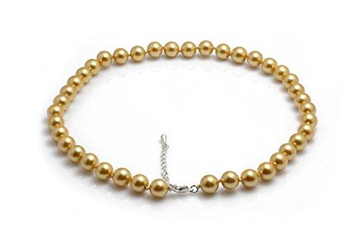 Schmuckwilli Damen Muschelkernperlen Perlenkette aus echter Muschel dunkel gold 45cm 10mm mk10mm105-45