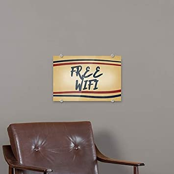 Free WiFi Nostalgia Stripes Premium Brushed Aluminum Sign 36x24 CGSignLab