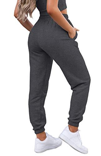 Waitfairy Womens High Waisted Sweat Pants Petite Drawstring Elastic Waist Sweatpants Workout Trousers Dark Grey S