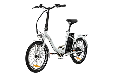 VecoCraft Nemesis Elektro Klapprad,E Bike 20 Zoll,E-Folding Bike mit ausziehbarer Baterrie 36V 288WH, 250W Motor, tragbares E-Bike Klapprad ebike Herren e Bike Damen mit niedrigem Rahmen, weiß