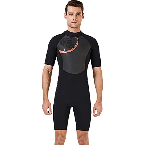 CYzpf Traje de Buceo Ultra Stretch 1.5 mm Traje de Baño Cuerpo Completo Corto Exterior para Mujer Hombres, Mono Pieza, Surf, Snorkel,Men,Black