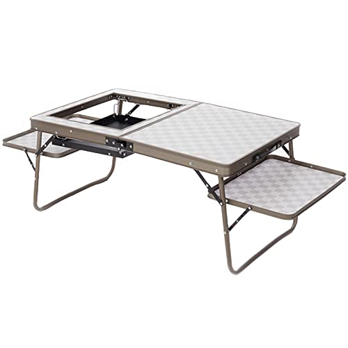 ZHAOJ Mesa De Barbacoa Plegable De Aluminio para Acampar con Utensilios para Hornear, Muebles De Barbacoa Al Aire Libre, Mesa De Camping De Altura Ajustable para 4 Personas