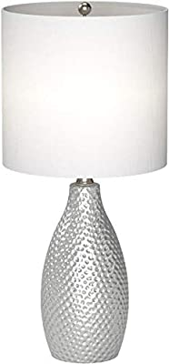 "Amazon Brand – Ravenna Home Textured Ceramic Base Table Lamp with LED Light Bulb, 18""H, Silver - 20465-002"