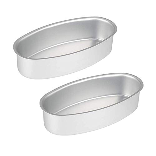 2 Pack 8-Inch Oval Bread Loaf Pan Cake Mold Homemade Cheesecake Meatloaf Baking Bakeware for Oven and Instant Pot Baking