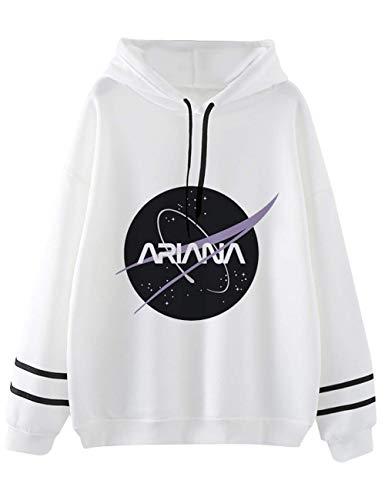 VERROL Pull Ariana Grande Femme, Ado Fille Music Fans Ariana Grande Sweat à Capuche Casual Imprimé Manches Longues Sweater Tops Couleur Unie Hoodie avec Poches