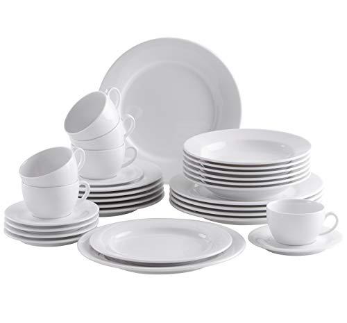 Kahla 570977O90057C Pronto weiß Geschirrset 30-teilig Porzellanservice für 6 Personen Weiss rund Kombiservice Suppenteller Teller Tassen