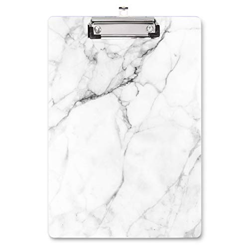 WAVEYU Clipboard, Cute Decorative Letter Size Clipboard, Low Profile Paperboard Chic Design Clipboard for Students Nurse School, Home, or Office Supplies(12.5'x8.5'), White Marble