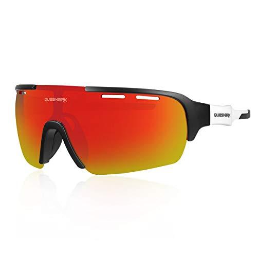 Queshark Sport Sonnenbrille Fahrradbrille Sportbrille mit UV400 4 Wechselgläser inkl Schwarze polarisierte Linse für Outdooraktivitäten wie Radfahren Laufen Klettern (C05)