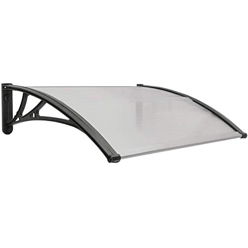 PrimeMatik - Auvent de Porte et fenêtres 80x60 cm Gris foncé. Marquise Solaire abri banne entrée Protection avec Support Noir