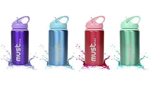 ML Bouteille d'eau en aluminium vert, bouteille isotherme à test de fuite sans BPA pour soulever l'école, la gym et faire du sport la thermos 500 ml pour femme et homme (vert)