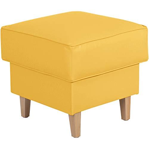 Max Winzer® Hocker Lorris, mais (gelb), Kunstleder, Retro, romantisch, Landhaus, passend zum Sessel Lorris, 53 x 53 x 45 cm