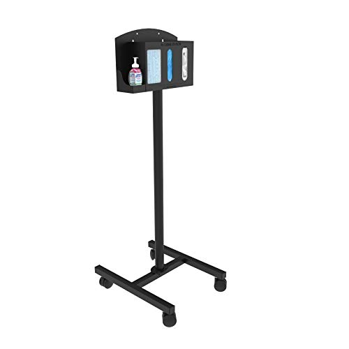 Respiratory Hygiene Sanitation Station by Versa Products   Mobile   4 Compartments   Black