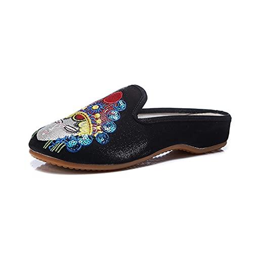 Zapatos planos de estilo chino retro bordado a mano para mujer, sandalias de punta redonda, para viajes al aire libre, zapatos de senderismo, suaves y antideslizantes (color: negro, tamaño: 36EU)