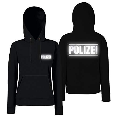 Shirt-Panda Damen Polizei Hoodie Druck mit Streifen auf Brust & Rücken Schwarz (Druck Reflex) S
