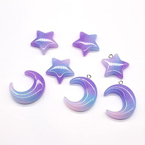 xuyang 10 pendientes de resina con diseño de estrella de luna, diseño de pentagrama y colgante en forma de lágrima (color metálico: con agujero mezclado)