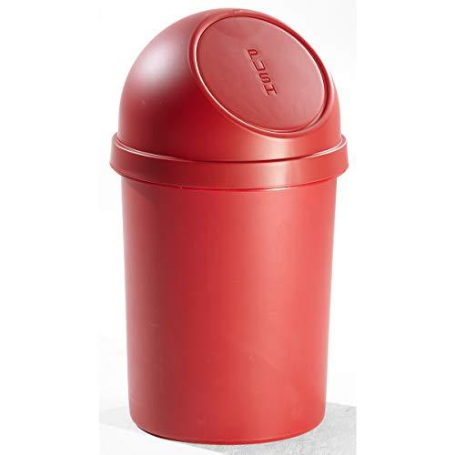 helit Push-Abfallbehälter mit VE 2 Stück - aus Kunststoff, Volumen 45 Liter, Höhe 700 mm - rot
