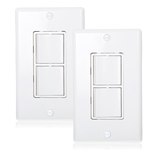 Maxxima AC Combination Switch White Wall Plates Included Duplex Rocker Switch 15 Amp Decorative (Pack of 2)