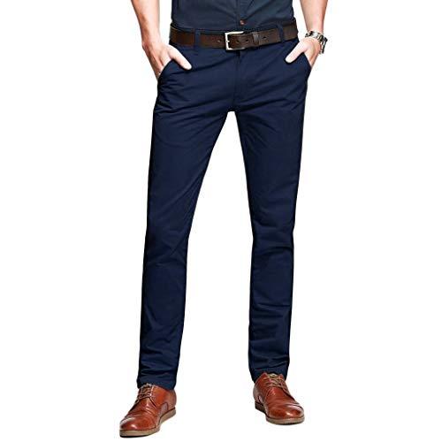 OCHENTA Men's Slim Tapered Flat Front Casual Dress Pants Dark Blue Lable 32