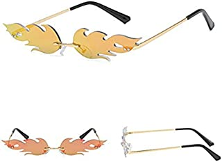 BeiXiaoFen Flame Unisex Sunglasses, Rimless Sunglasses, Wave Narrow Sunglasses for Birthdays, Graduation, Wedding or Party Favors