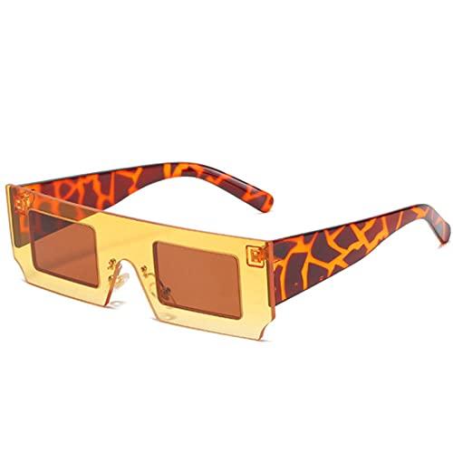 Gafas De Sol Hombre Mujeres Ciclismo Gafas De Sol Graduadas De Moda para Mujer, Gafas De Sol Cuadradas Vintage para Hombre, Gafas Retro-Yellow_Tea