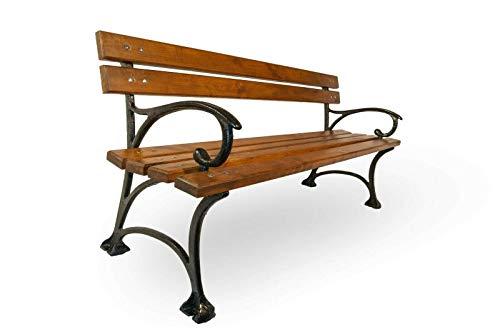 Naka24 Parkbank Gartenbank Massivholz Kiefer 160 cm lang (02010 Lattenstärke 40 mm Gusseisen)