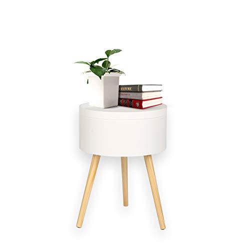 2 en 1 Mesa de centro + caja de almacenamiento Muebles de mesa lateral Almacenamiento redondo Estilo escandinavo Bandeja de servicio Madera Blanco 38X38X52CM