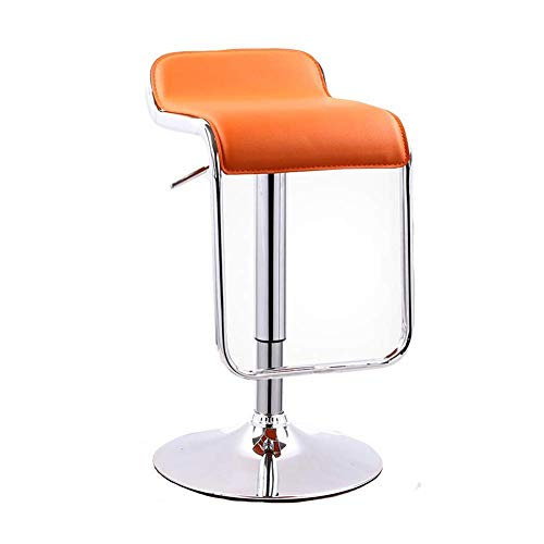 JIEER-C vrijetijdsstoelen verstelbare draaibare barkruk moderne PU-keukenstoelen gasveer voetsteun 61-81 cm lang meegaand sterk oranje