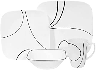 Corelle Square 16-Piece Simple Lines Design Dinnerware, with Service for 4, Features Chip Free and Break Resistant Dishware, is Microwave Safe, Oven and Dishwasher Safe, with Bold and Bright Colors, Scratch and Fade Resistant, with Stackable Design for Easy Storage