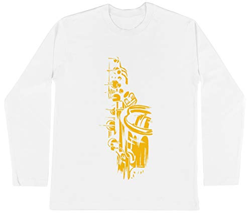 Saxofoon Keywork Unisex Kinder Jongens Meisjes Lange Mouwen T-shirt Wit Unisex Kids Boys Girls's Long Sleeves T-Shirt White