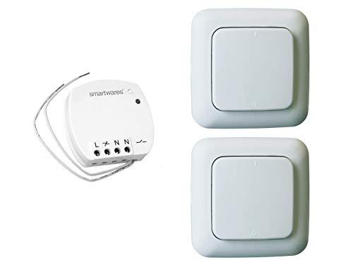 Funk Schalter Set = Mini-Funk-Einbauschalter + 2 x Funk-Wandschalter, für Leuchten und Geräte bis max. 1000W
