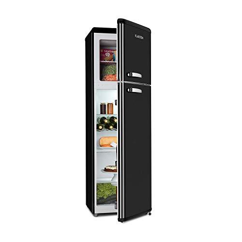 Klarstein Audrey Retro - Kühlschrank, sparsam und umweltfreundlich, 0 bis 10 °C, A++, 250 Liter Fassungsvermögen, 194 L Kühlschrank, 56 L Gefrierschrank, schwarzgrau
