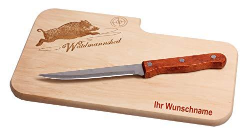 Brotzeitbrett mit Name inkl. Messer