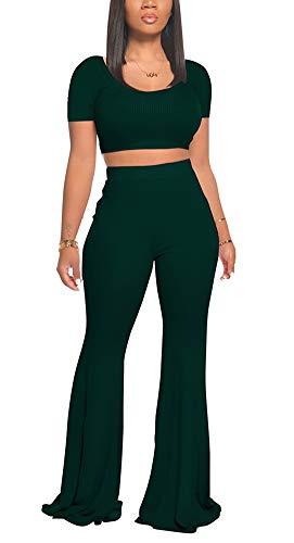 Women Casual Outfit Wide Leg Long Pants Suits 2 Pieces Lounge Sets Deep Green