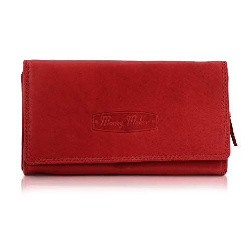 Elitar Geldbörse Damen Leder Groß Lang Portmonee mit Kartenfächer Rot