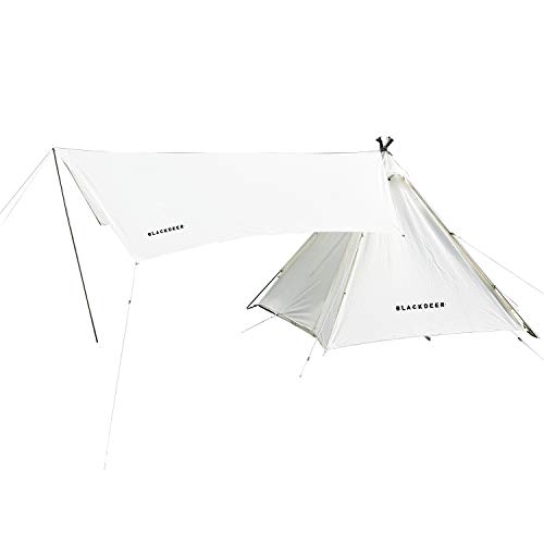 BLACKDEER 4 Person Teepee Tent for Camping, Waterproof Windproof Tent Tarp Family with Included Patio Shelter   4 Season Design Easy Set Up   Great...