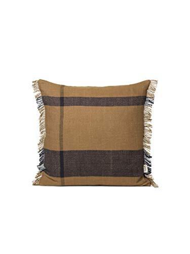 ferm Living 1104263406 Dry Cushion Sugar Kelp - Cojín (50 x 50 cm, 50% algodón y 50% Lino, Relleno de Plumas y plumón), Color Negro