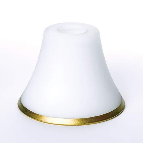 Glas Lampenschirm Ersatzglas mit matt goldenem Ring weiß Lochmaß E14 ø 30 mm Zierring Leuchtenglas