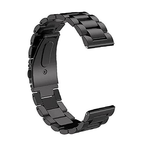 Banda de Brazalete de Acero Inoxidable de Smart Watch Strap de 22 mm Compatible con Apple Huawei Black